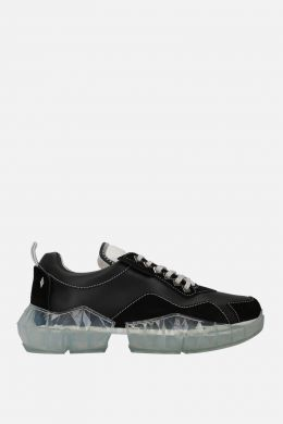 JIMMY CHOO: Diamond/M sneakers in smooth leather and suede Color Black