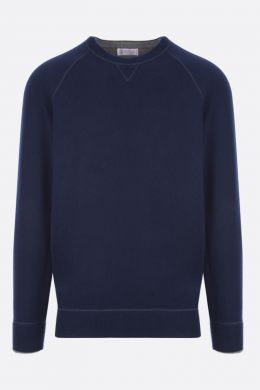 BRUNELLO CUCINELLI: pure cashmere pullover Color Blue