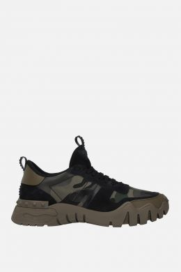 VALENTINO GARAVANI: Rockrunner Plus camouflage canvas sneakers Color Green