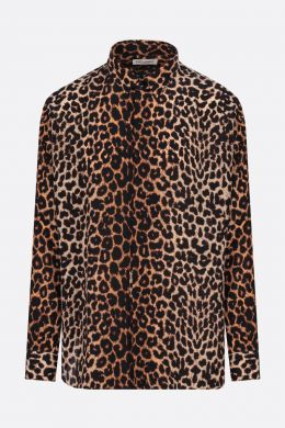 SAINT LAURENT: camicia in seta stampa leopardo Colore Animalier