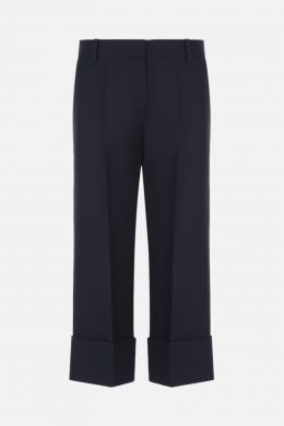 VALENTINO: pantalone cropped in Crepe Couture Colore Blu