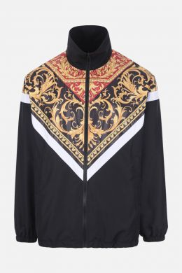 VERSACE: giubbotto full-zip in nylon stampa Le Pop Classique Colore Nero