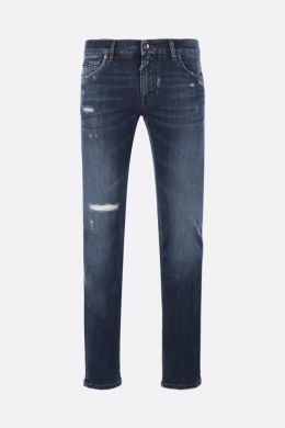 DOLCE & GABBANA: skinny jeans with distressed effect Color Blue