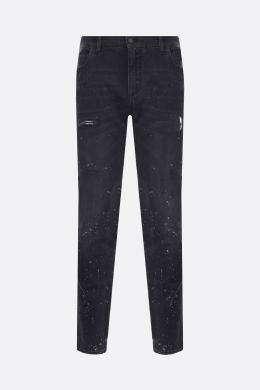 DOLCE & GABBANA: slim jeans with distressed effect Color Black