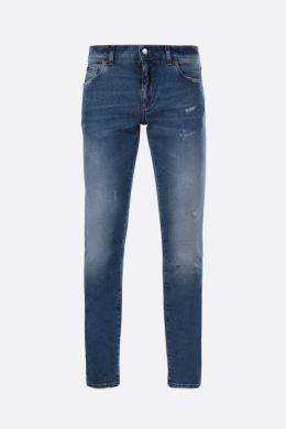 DOLCE & GABBANA: distressed-effect skinny jeans Color Blue
