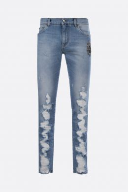 DOLCE & GABBANA: DG Crown patch skinny jeans Color Blue
