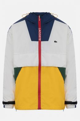 LACOSTE L!VE: giacca a vento in nylon color-block patch logo Colore Multicolore