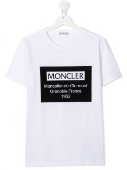MONCLER KIDS: t-shirt in cotone stampa grafica Colore Bianco