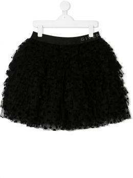 GIVENCHY KIDS: gonna a balze in tulle plumetis Colore Nero