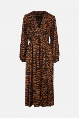 ANDAMANE: Brooklyn shirt dress in printed satin Color Brown