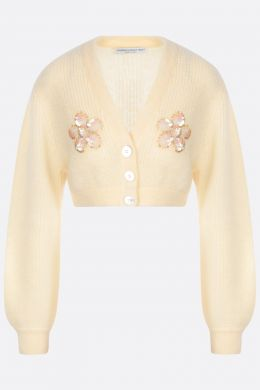 cardigan cropped in misto mohair con paillettes