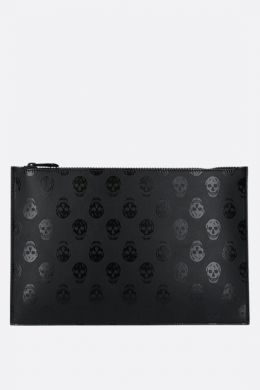 Biker Skull print smooth leather clutch
