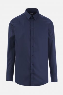 DOLCE & GABBANA: stretch poplin gold-fit shirt Color Blue