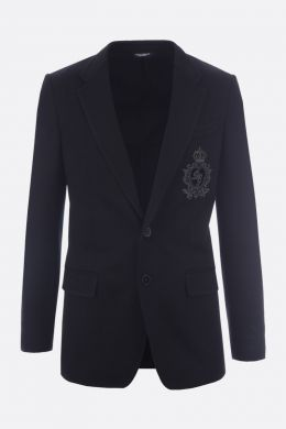 DOLCE & GABBANA: giacca monopetto in jersey patch DG Crown Colore Nero