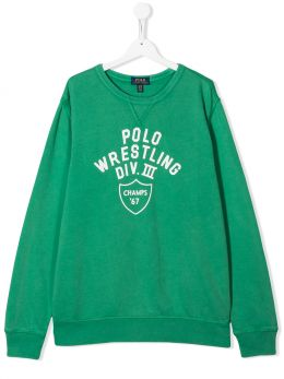 RALPH LAUREN KIDS: Polo Wrestling print cotton sweatshirt Color Green