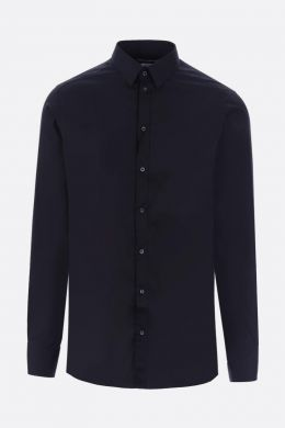 DOLCE & GABBANA: Gold-fit stretch poplin shirt Color Black