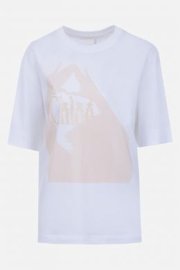 CHLOÈ: logo print cotton t-shirt Color White
