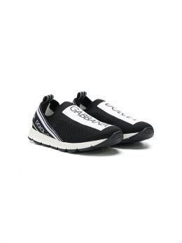 DOLCE & GABBANA CHILDREN: Sorrento sneakers in stretch knit Color Black