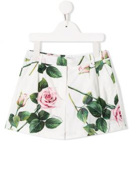 Tropical Rose print cotton shorts