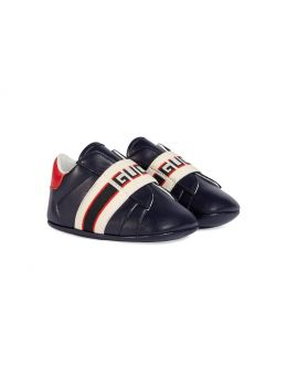 GUCCI CHILDREN: Gucci stripe-detailed smooth leather sneakers