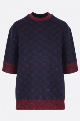 GUCCI: short-sleeved pullover in Interlocking G lamè wool jacquard Color Blue