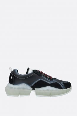 JIMMY CHOO: Diamond/M smooth leather and suede sneakers Color Black
