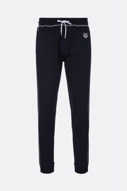 KENZO: Tiger embroidered cotton joggers Color Blue