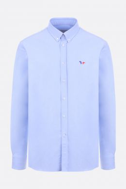 MAISON KITSUNÈ: Tricolor Fox patch cotton oxford shirt Color Blue