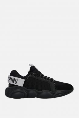 MOSCHINO: Teddy sneakers in mesh, neoprene and suede Color Black