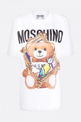 MOSCHINO: t-shirt oversize Frame Teddy Bear in cotone Colore Bianco