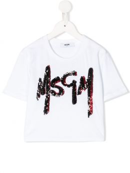 MSGM KIDS: logo embroidered cotton cropped t-shirt Color White