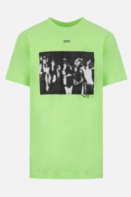 OFF WHITE: Spray Painting cotton t-shirt Color Yellow