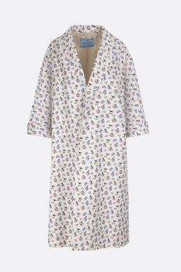 Swallow printed faille oversized overcoat