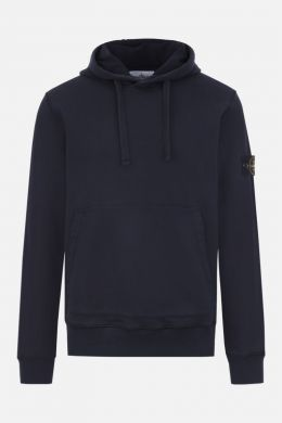 STONE ISLAND: regular-fit cotton jersey hoodie Color Blue