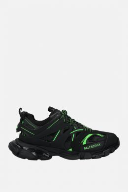 Track faux leather and mesh sneakers