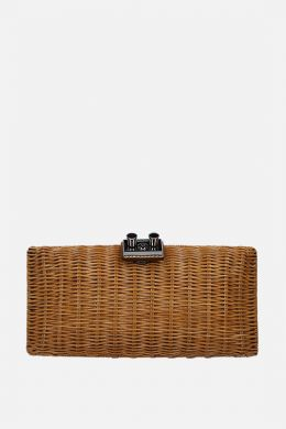 leather-detailed wicker chain clutch