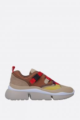 CHLOÈ: Sonnie low-top sneakers in leather, suede and canvas Color Red