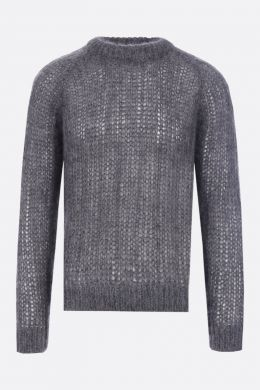 PRADA: mohair blend knit pullover Color Grey