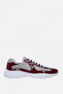 PRADA: sneaker low-top in vernice e mesh