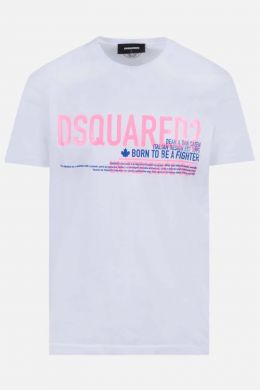 DSQUARED2: t-shirt in cotone stampa Born to be a Fighter Colore Bianco