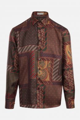 ETRO: camicia in seta stampa patchwork Colore Multicolore