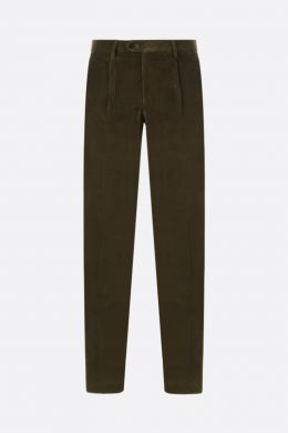 ETRO: pantalone slim-fit con pinces in velluto a costine Colore Marrone