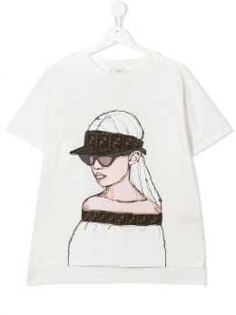 FENDI KIDS: t-shirt in cotone stampa grafica Colore Neutro