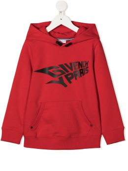 GIVENCHY KIDS: felpa in misto cotone stampa Givenchy Paris Colore Rosso