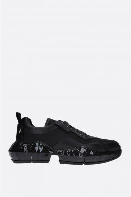 JIMMY CHOO: Diamond/M smooth leather and nylon sneakers Color Black