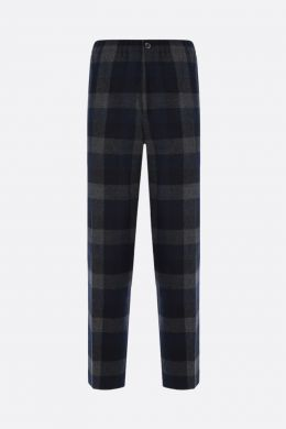 KENZO: pantalone jogging in misto lana a quadri patch K Colore Blu