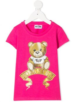 MOSCHINO KIDS: t-shirt in cotone stretch stampa Moschino Teddy Bear Colore Rosa