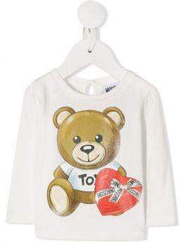MOSCHINO KIDS: t-shirt a maniche lunghe in cotone stretch stampa Moschino Teddy Bear Colore Grigio