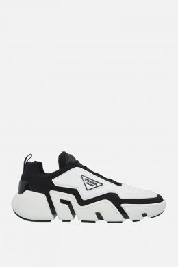 PRADA: Segment techno stretch fabric and rubber sneakers Color Black