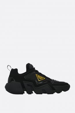 PRADA: Segment tecno stretch fabric and rubber sneakers Color Black